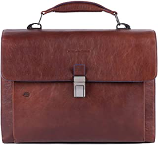 Piquadro Three gusset Blue Square Briefcase 15.6