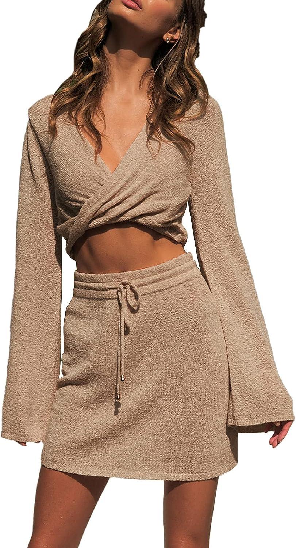Linsery Women's Twist Wrap Long Sleeve Crop Top Short Knit Skirt Sets