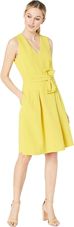 Sleeveless V-Neck Bow Waist Dress