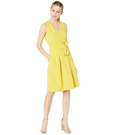 Tahari by ASL Sleeveless V-Neck Bow Waist Dress (Sunflower) Women