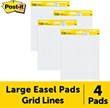Post-it Easel Pad, 25 in x 30 in, 4 pads per pack, Blue Grid (560 VAD 4PK)