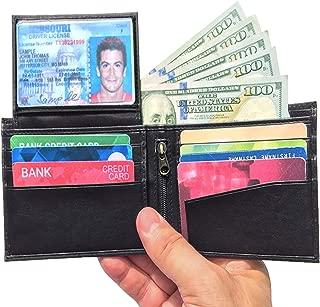 Black RFID Blocking Wallets for Men, Genuine Leather Slim Design, 10 Credit Card