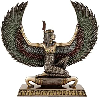 Top Collection Ancient Egyptian Maat Satue - Decorative Egyptian Goddess of Truth and Justice Sculpture in Premium Cold Cast Bronze with Colored Accents - 13.75-Inch Long Collectible Figurine