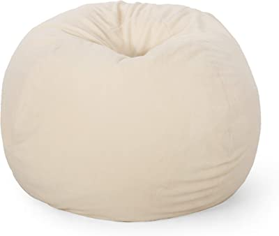 Christopher Knight Home Newalla Modern Shearling 5 Foot Bean Bag, Cream