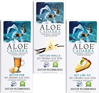 Aloe Cadabra Personal Organic Lube, Best Lubricant Bundle for Her, Him & Couples, Variety Pack 1 EA : Butter Rum, Vanilla, and Key Lime