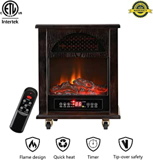 DOIT 12Inch Electric Fireplace with Remote Control Stove Heater 1000 sq ft 3 Element 1500W Portable w/Wheels,Infrared Quartz Space Heater with 3D Flame Effect