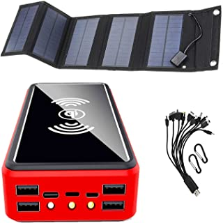 Solar Charger 50000mAh, [15W Solar Panel] Solar Power Bank External Battery Solar Charger Foldable USB C Outdoor Solar Pow...
