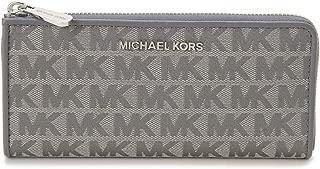 Michael Kors Women's Jet Set Travel, Leather Material, Large Three Quarters Zip Wallet - Heather Gray