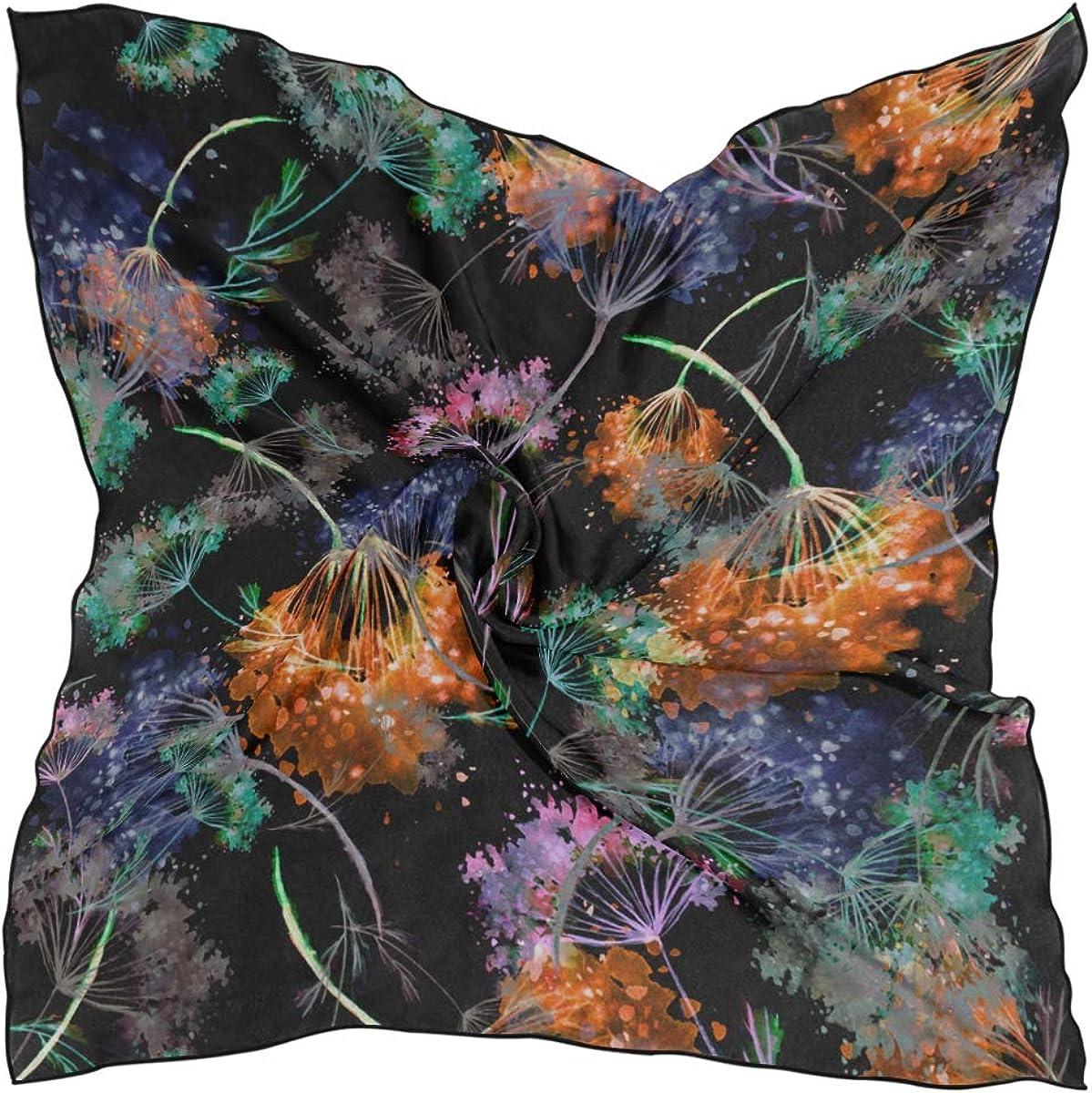 Women's Soft Polyester Silk Square Scarf Watercolor Dandelion Watercolor Floral Vibrant Garden With Nature Fashion Print Head & Hair Scarf Neckerchief Accessory-23.6x23.6 Inch