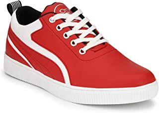 DERBY KICKS Men's Comfortable Red Casual Lace-Up Shoes/Sneakers for Men