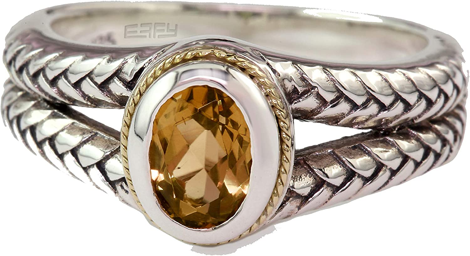 EFFY 925 STERLING SILVER 18K RING CITRINE GOLD YELLOW online shopping OFFicial site