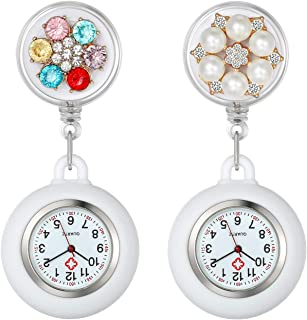 Women's Nurses Watch Doctors Paramedic Clip-on Hanging Lapel Nurse Watches Fashion Pearls White Silicone Cover Badge Stethoscope Retractable Fob Watch