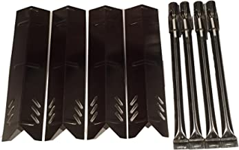 Set of Four Stainless Steel Replacement Heat Plates and Four Burners with electrodes for Uniflame, DynaGlo, Better Home and Garden and Backyard Grill Models