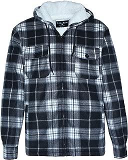 Men's Sherpa Lined Fleece Zip Up Winter Warm Plaid Flannel Jacket with Hood