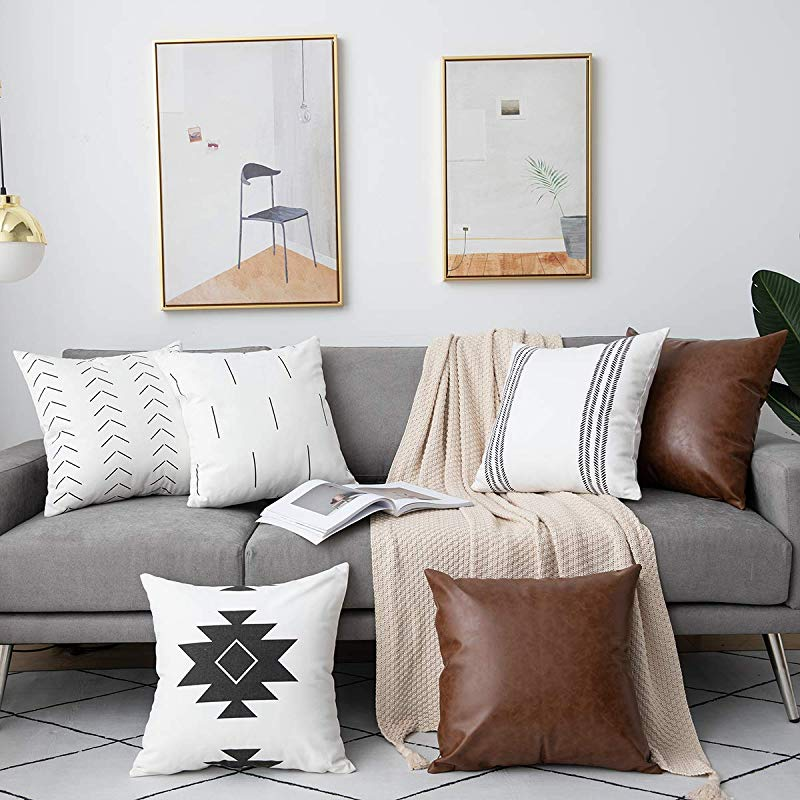 DEZENE 6 Pack Decorative Throw Pillow Covers For Sofa Couch Bed 18 X 18 Inch 100 Cotton Modern Geometric White Cushion Covers And Faux Leather Square Pillow Cases Black And Brown