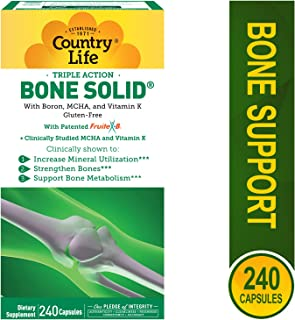 Country Life Triple Action Bone Solid - Calcium Supplement with Boron, HCA, Vitamin K - 240 Capsules