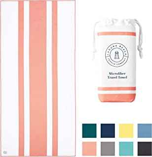 Microfiber Beach Towel by Laguna Beach Textile Co - Pool, Gym, Yoga - Extra Large, Fast Drying, and Sand Free- Coral