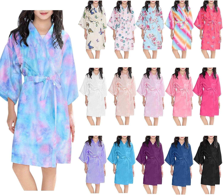 Gerbrief Kids' Satin Kimono Robe Bathrobe Nightgown for Spa Party Wedding Birthday for Girls Solid Summer Robes Bathrobe Sleepwear Clothes Coat, Nightgown for Party Wedding