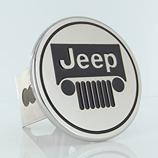 Au-tomotive Gold Jeep Grille Logo Steel Tow Hitch Cover Plug,Silver