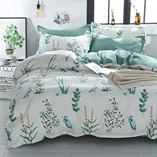 LAYENJOY Floral Duvet Cover Set Twin, 100% Cotton Bedding, Watercolor Botanical Flower Bird Pattern Printed on White Reversible Green, Fresh Comforter Cover for Kids Teens Boys Girls, No Comforter