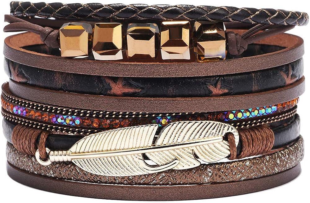 Womens Feather Multilayer Leather Bracelet Boho Wrap Cuff Bangle