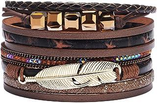 TURTLEDOVE Multilayer Leather Bracelet for Women – Boho...