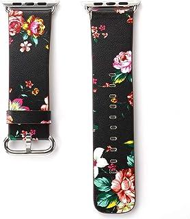 ZAALFC Correa de Reloj de Correa de Cuero de la Banda británica Floral Rural for Apple Pulsera de la Flor de IWatch for 5 ...