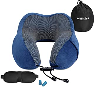 HOMEIDEAS Travel Pillow Luxury Memory Foam Neck Pillow for Airplane - with 360-Degree Head Support - Soft & Comfortable & Washable Cover, Travel Pillow Kit with 3D Eye Mask and Earplugs(Blue)