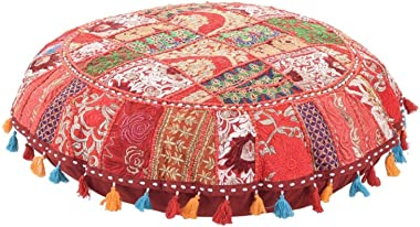 Jaipurstudio Red Indian Ethnic Bohemian Floor Pillow Cover 32 Inch Patchwork Meditation Ottoman Stool Home Decor Embroidered Vintage Cotton Round Floor Cushions Seating for Adults 32x32