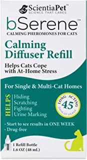 bSerene Pheromone Calming Solution for Cats | 45-day Diffuser Refill | Helps Reduce Hiding, Scratching, Stress, Anxiety | ...