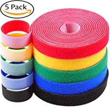 Darller 5 Roll Reusable Cable Straps Cable Ties Hook & Loop Nylon Fastening Tape Wire Organizer for Cords Cable Management (Totally 33 ft)