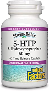Stress-Relax 5-HTP 50 mg by Natural Factors, Promotes Emotional Well-Being, 60 Caplets