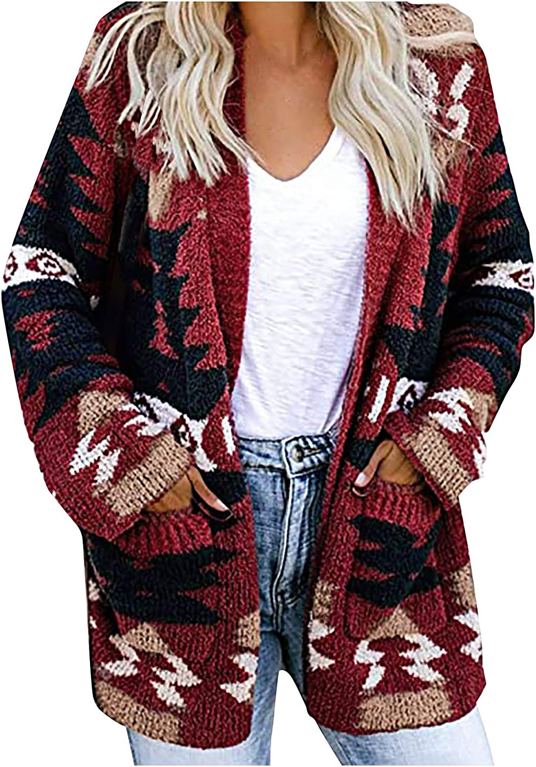 Women Fashion Metro Print Knitted with Pockets Long Sleeves Loose Open Front Cardigan Sweater Coats Outerwear