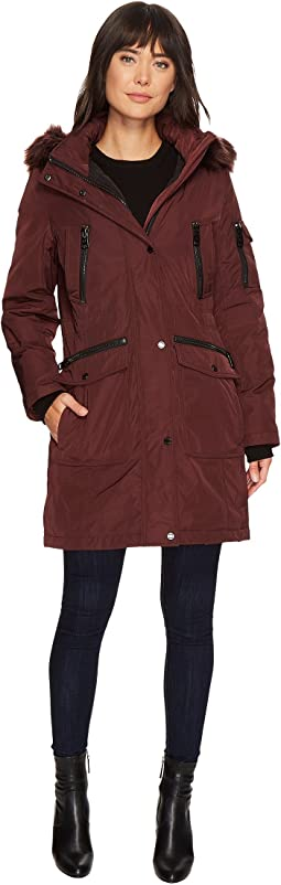 Parka with Detachable Fur Trimmed Hood