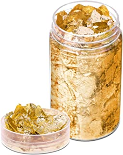 Gold Flakes for Resin, Paxcoo Gold Foil for Nails, Gold Foil Flakes Imitation Gold Leaf for Jewelry Resin, Nails and Jewel...