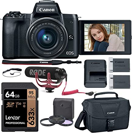 $748 Get Canon EOS M50 Mirrorless Camera (Black) with 15-45mm Kit Lens, Rode VideoMic Go, Lexar 64GB Memory Card, Canon Camera Bag and More