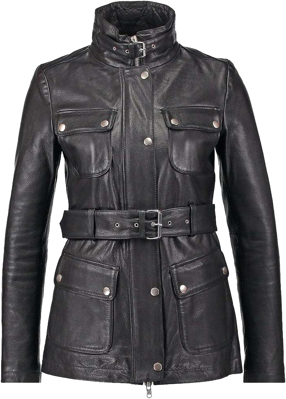 New Women Genuine Real Leather Jacket Ladies Slim Fit Biker Coat XW614