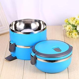 Bento Box, 3-Layer Lunch Box, Round Lunch Box, 100% New Blue för skolhem