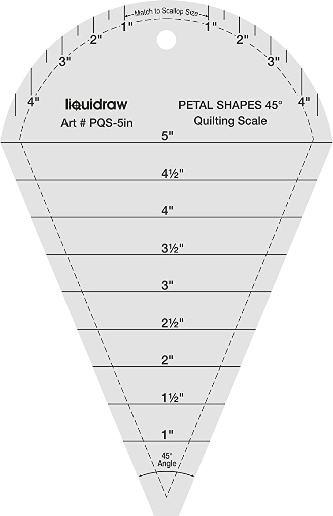 Liquidraw 45° Petal Shapes Quilting Ruler Template Designing and Crafts