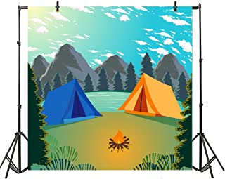 Leyiyi 4x4ft Photography Background Cartoon Hawaii Summer Holiday Backdrop Diving Camping Seaside Birthday Party Ocean Wave Mountains Trees Baby Shower Photo Portrait Vinyl Video Studio Prop