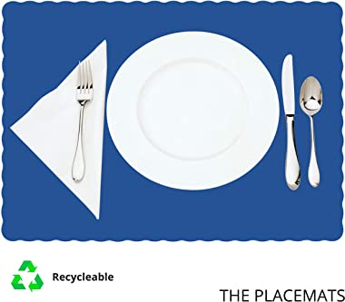 Paper Placemats for Dining Table – Disposable Scalloped Edges Color Table Mats great for Parties and Christmas Table Decorati