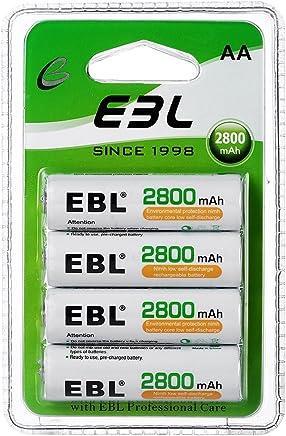 EBL AA Baterías Recargables de 2800mAh de Alta Capacidad con último Paquete (4 Unidades)