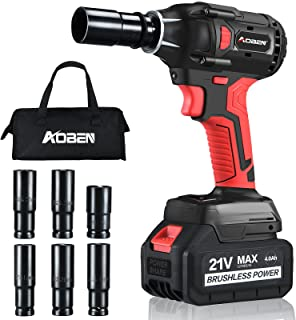 """AOBEN 21V Cordless Impact Wrench Powerful Brushless Motor with 1/2"""" Square Driver, Max 300 Torque..."""