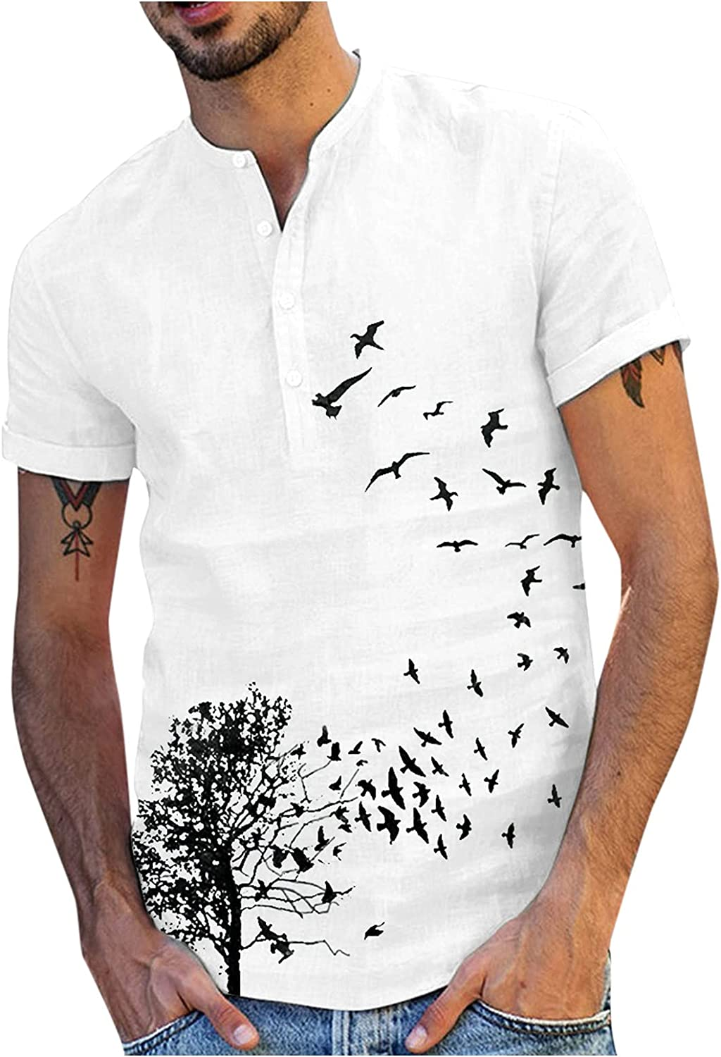 Tops for Men TreeBird Genuine Free Shipping Challenge the lowest price of Japan Printed Cotton Sleeve C Linen Short Stand