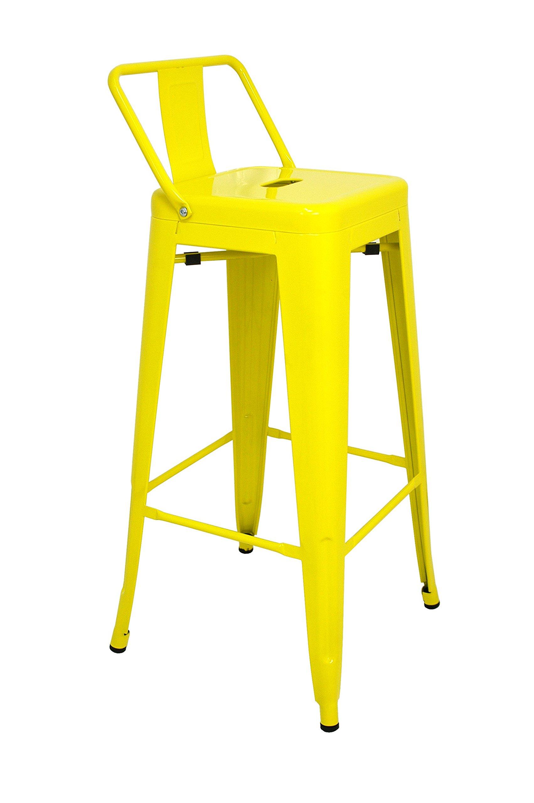 La Silla Española - Pack 2 Taburetes estilo Tolix con respaldo. Color Amarillo. Medidas 95x44,5x44,5: Amazon.es: Hogar