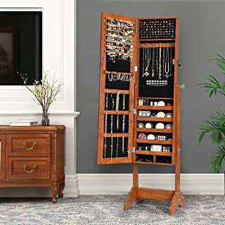 Taltintoo20 Lockable Jewelry Cabinet Armoire Standing Jewelry Holder Organizer with Mirror, Size: 16 inch x 15 inch x 61 inch, Weight 22.8 Pound, Suitabe for The Orderly Storage of Your Jewelry.