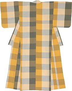 (ソウビエン) 木綿着物 単衣 レディース 伊勢木綿 天然素材 格子 イエロー グレー チェック 単品 洗える 仕立て上がり
