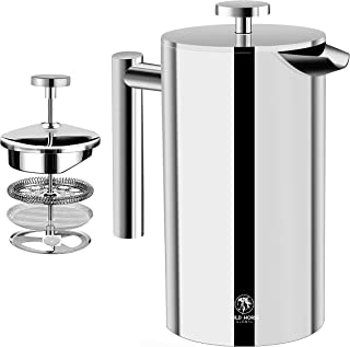 Wild Horse Global French Press Coffee Maker - 24oz (700mL) - Insulated Stainless Steel - Portable Thermal Coffee Makers fo...