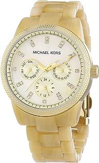 ساعة يد رسمية كوارتز بسوار بلاستيك ومينا من عِرق اللؤلؤ MK5039 للنساء من مايكل كورس