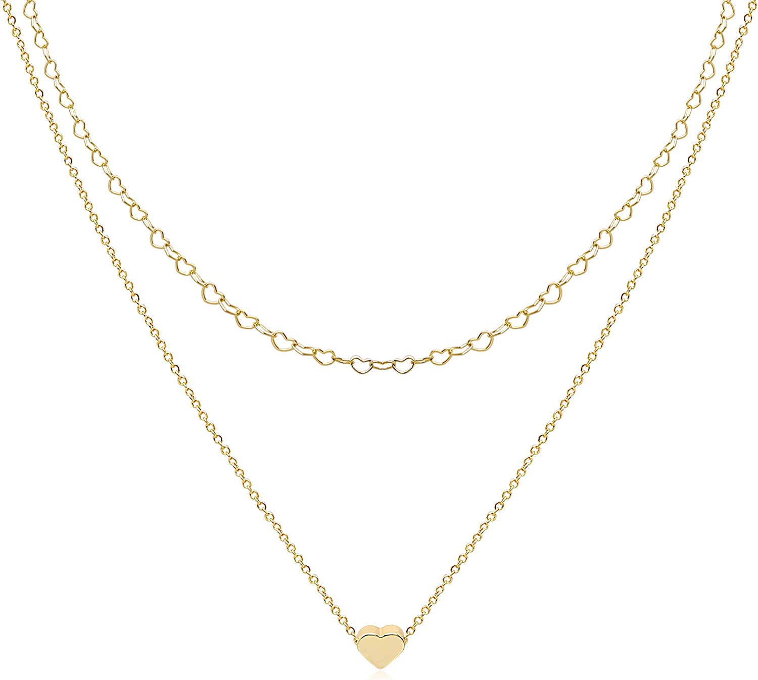 Cryshimmer Layered Choker Necklaces for Women 14K Gold Plated Handmade Dainty Tiny Star Heart Butterfly Cross Bar Pendant Adjustable Layering Gold Necklaces Minimalist Jewelry Gift